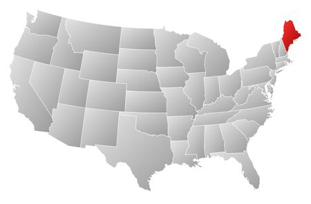 Political map of United States with the several states where Maine is highlighted. Vector