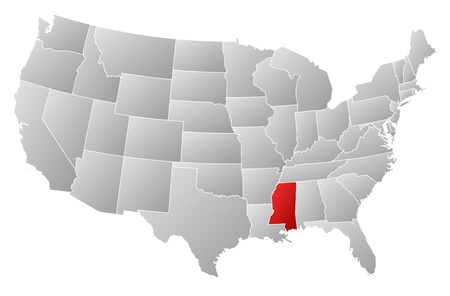 emphasize: Political map of United States with the several states where Mississippi is highlighted.