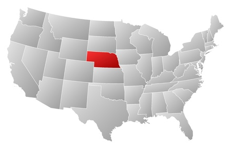 ne: Political map of United States with the several states where Nebraska is highlighted.