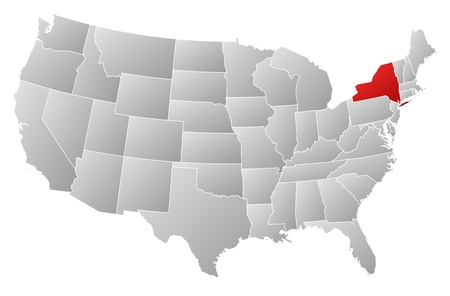 ny: Political map of United States with the several states where New York is highlighted.
