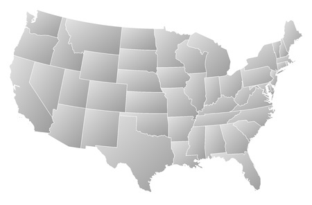 outline map: Political map of the United States with the several states.
