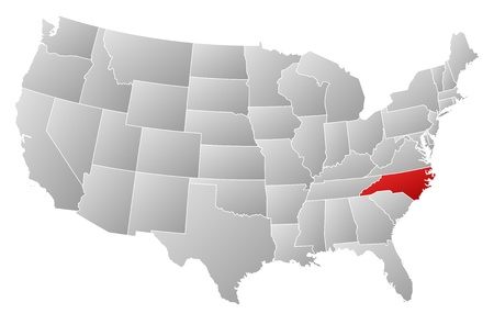 silhouette america: Political map of United States with the several states where North Carolina is highlighted.