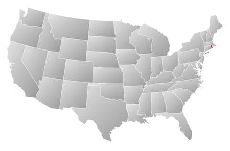 Political map of United States with the several states where Rhode Island is highlighted  Vector