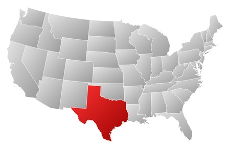 u s: Political map of United States with the several states where Texas is highlighted