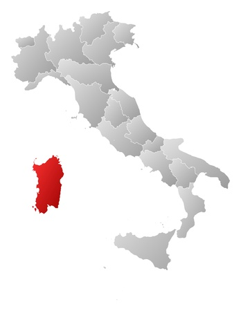 Political map of Italy with the several regions where Sardinia is highlighted. Vector