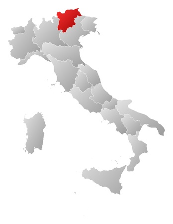 tyrol: Political map of Italy with the several regions where Trentino-Alto AdigeS�dtirol is highlighted. Illustration