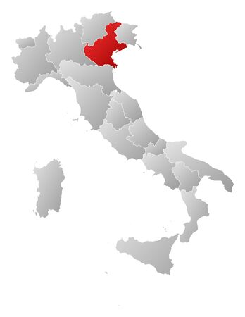 Political map of Italy with the several regions where Veneto is highlighted. Vector