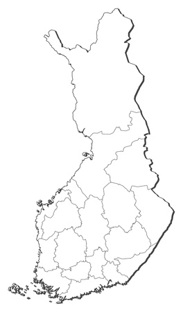finland: Political map of Finland with the several regions. Illustration