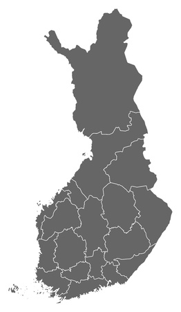 Political map of Finland with the several regions. Ilustração
