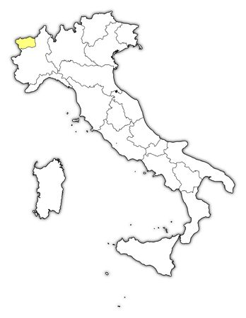 Political map of Italy with the several regions where Aosta Valley is highlighted. Vector