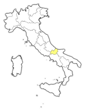 molise: Political map of Italy with the several regions where Molise is highlighted.