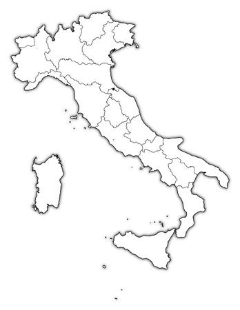 Politieke kaart van Italië met de verschillende regio's.