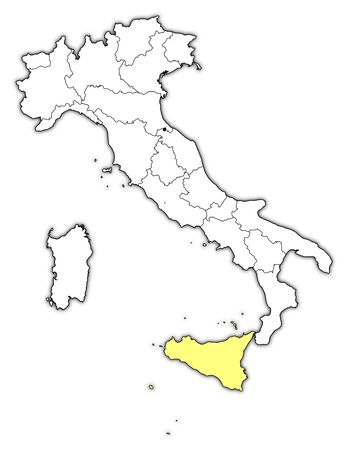 Political map of Italy with the several regions where Sicily is highlighted. Vector
