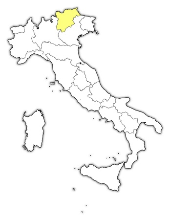 Political map of Italy with the several regions where Trentino-Alto AdigeS�dtirol is highlighted. Vector