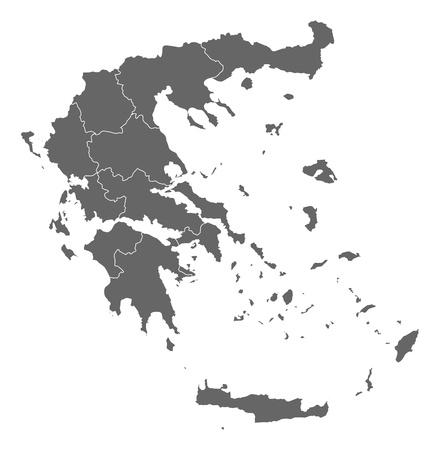 general map: Political map of Greece with the several states. Illustration