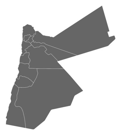 southwestern asia: Political map of Jordan with the several governorats.
