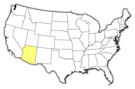 highlighted: Mappa politica degli Stati Uniti con i diversi Stati in cui si evidenzia Arizona.