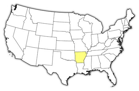 Political map of United States with the several states where Arkansas is highlighted. Vector