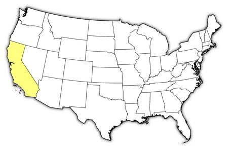 highlighted: Mappa politica degli Stati Uniti con i diversi Stati in cui � evidenziato California.