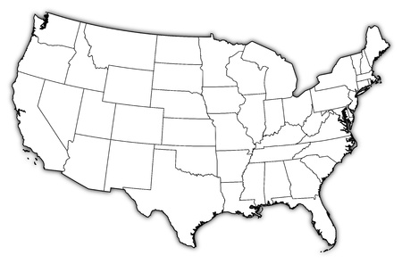 emphasize: Political map of United States with the several states where Washington, D.C. is highlighted.