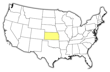Political Map Of United States With The Several States Where Kansas Is Highlighted Stock Vector