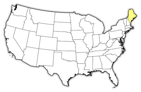 Political Map Of United States With The Several States Where - Maine on a us map