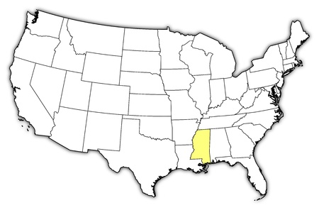 ms: Political map of United States with the several states where Mississippi is highlighted.