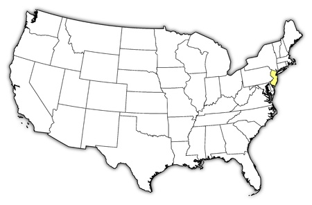 new jersey: Political map of United States with the several states where New Jersey is highlighted.