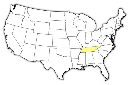 tn: Political map of United States with the several states where Tennessee is highlighted. Illustration