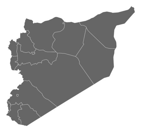 western asia: Political map of Syria with the several governorates. Illustration