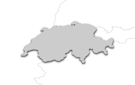 Political map of Swizerland with the several cantons. photo