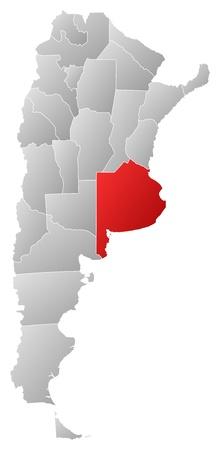 buenos aires: Politische Karte von Argentinien mit den verschiedenen Provinzen Buenos Aires, wo hervorgehoben wird.