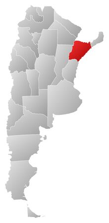 Political map of Argentina with the several provinces where Corrientes is highlighted. Vector