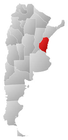 Political map of Argentina with the several provinces where Entre R�os is highlighted.