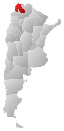 Political map of Argentina with the several provinces where Jujuy is highlighted. Vector