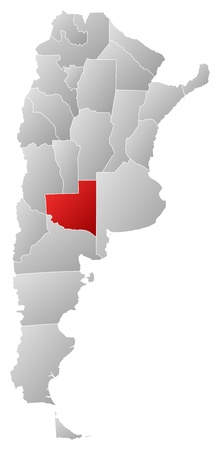 Political map of Argentina with the several provinces where La Pampa is highlighted. Vector