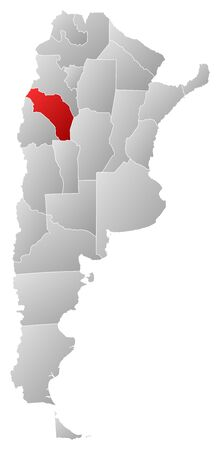 Political map of Argentina with the several provinces where La Rioja is highlighted. Vector