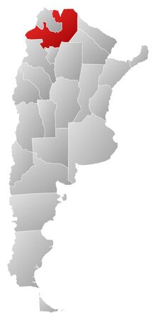 Political map of Argentina with the several provinces where Salta is highlighted. Vector