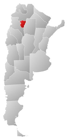 Political map of Argentina with the several provinces where Tucumán is highlighted. Vector