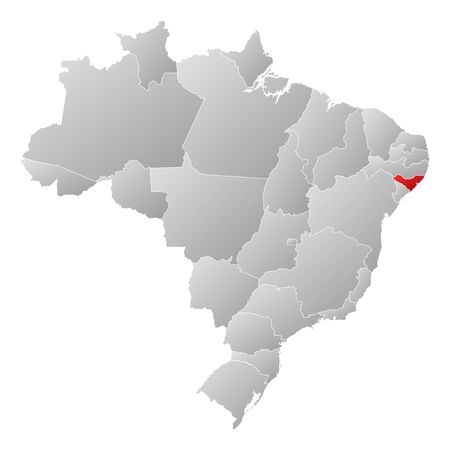 Political map of Brazil with the several states where Alagoas is highlighted. Vector