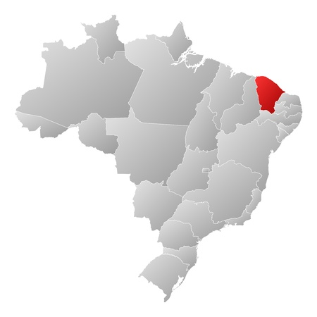 Political map of Brazil with the several states where Cear� is highlighted. Vector