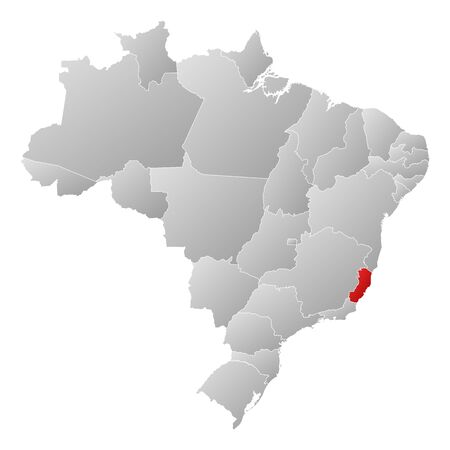 Political map of Brazil with the several states where Espírito Santo is highlighted. Vector