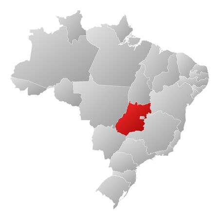 Political map of Brazil with the several states where Goiás is highlighted. Vector