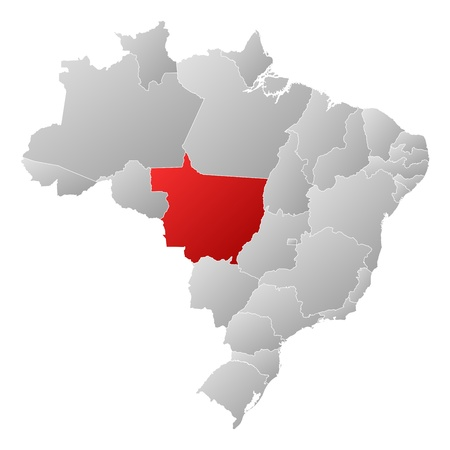 Political map of Brazil with the several states where Mato Grosso is highlighted. Stock Vector - 14112603