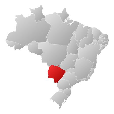 Political map of Brazil with the several states where Mato Grosso do Sul is highlighted. Vector