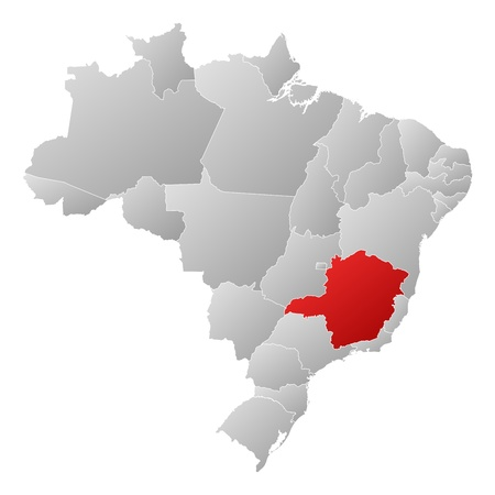 Political map of Brazil with the several states where Minas Gerais is highlighted. Vector