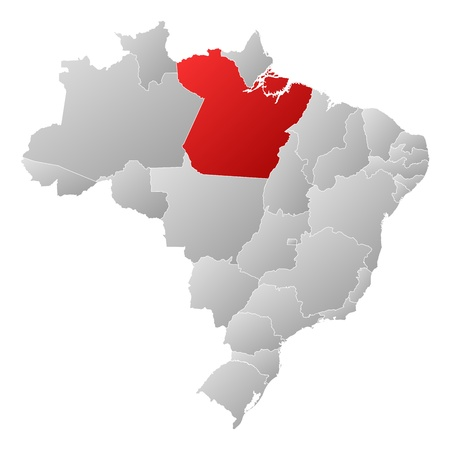 Political map of Brazil with the several states where Par� is highlighted. Stock Vector - 14112610