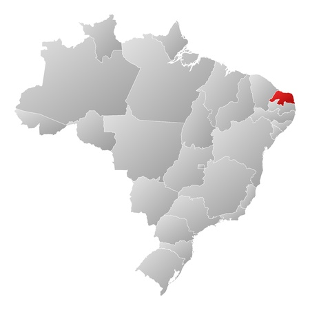 Political map of Brazil with the several states where Rio Grande do Norte is highlighted. Vector