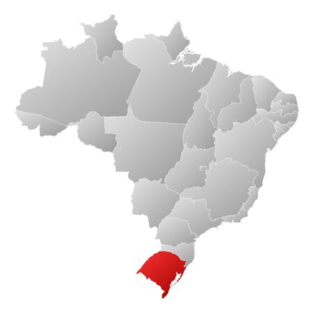 Political map of Brazil with the several states where Rio Grande do Sul is highlighted. Vector