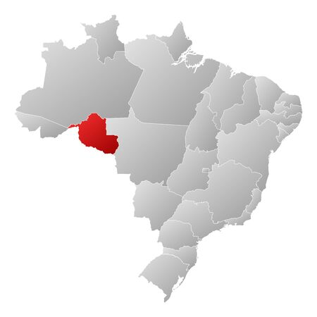 Political map of Brazil with the several states where Rond�nia is highlighted. Vector